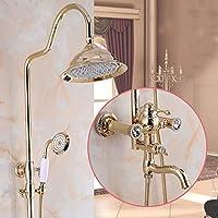 バスルームシャワー蛇口セット - バスルームデラックスレインシャワーミックスセット、調節可能シャワースタンド、壁掛け銅シャワーローズゴールド、メッキ