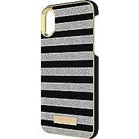 kate spade(ケイトスペード) iPhone X ラップケース サフィアーノ・ブラック & グリッター・シルバーボーダー [並行輸入品]