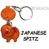 本革製 犬キーホルダー スピッツ VANCA CRAFT (日本製 職人の手作り)