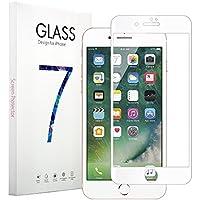 Vonetone iPhone 7 plus 専用強化ガラスフィルム 曲面全面保護 超薄0.33mm 高感度タッチ 3Dtouch対応 硬度9H汚れ防止気泡ゼロ指紋防止 高透過率 飛散防止処理「品質保証」iPhone 7 Plus 5.5 インチ用(ホワイト ブラック)(ホワイト)