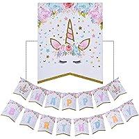 ユニコーン誕生日バナー、ユニコーン、Happy誕生日バナーホオジロバナーレインボーユニコーンのテーマパーティーFavorsデコレーション、Cute Fantasy Fairy Girls誕生日パーティーSupplies