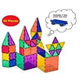 Playmags Award Winning Clear Colors Magnetic Tiles Building Set 50 + 6 Pc Set with Car - STEM Magnetic Toys Develop Motor Skills & Creativity, Colorful, Durable Magnet Building