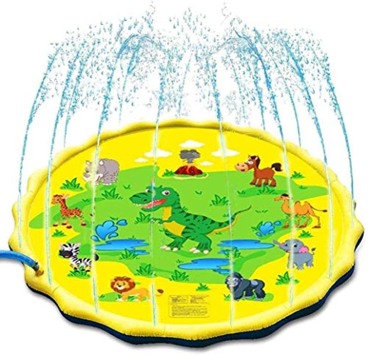 太いフラスコペナルティスプラッシュパッドインフレータブルウォータースプリンクラープレイマットプレイマットガーデン水のおもちゃプレイマット折り畳まスプリンクラーは夏の屋外/ガーデン/ビーチ用のマットを再生します,Gelb