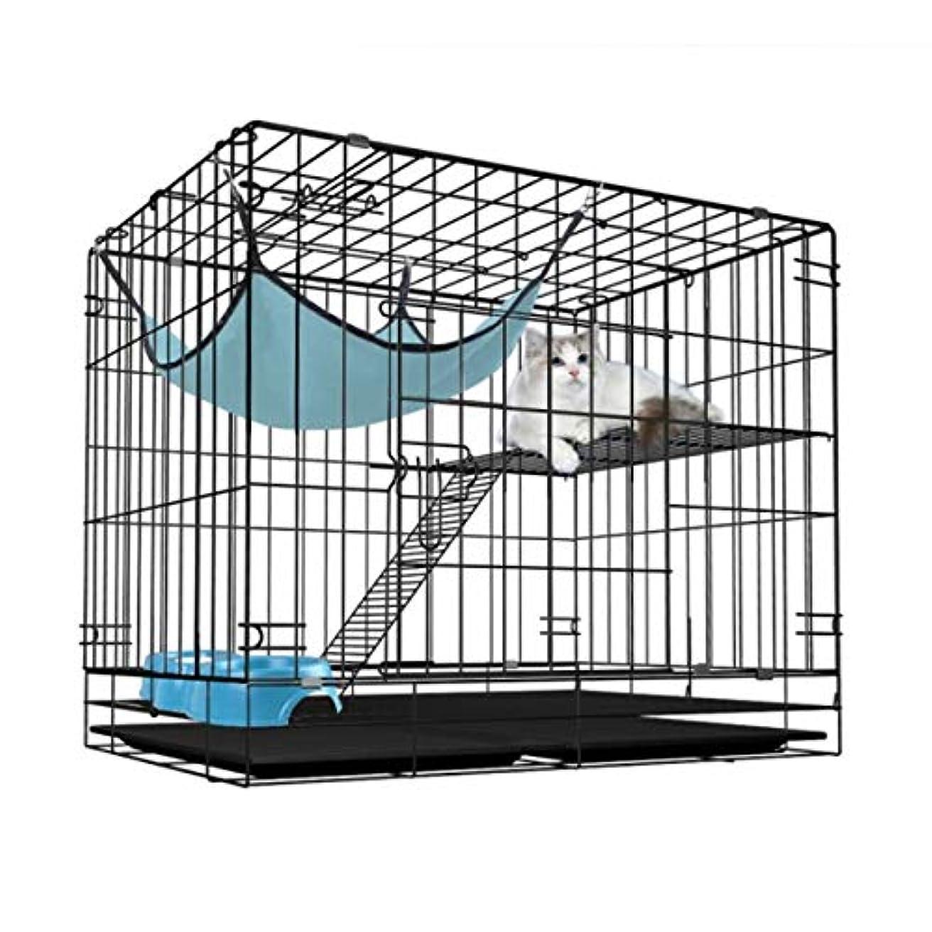 期間精神的に幻想HRXD 猫ケージ折りたたみ猫ケージ猫ケージ猫ハウス猫の巣 (Color : Black)
