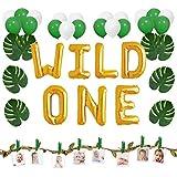 1歳誕生日飾り付け WILD ONE 野外 人工葉 アルミ ラテックスバルーン 風船 グリーンリーフ麻ロープ 写真クリップ 50枚セット