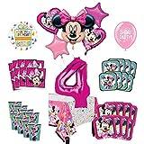 Mayflower Products ミニーマウスとフレンズ 4歳の誕生日パーティー用品 8ゲストデコレーションキットとバルーンブーケ