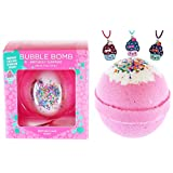 Bubble Bath Bomb for Girls with Surprise Kids Necklace Inside by Two Sisters Spa. Large 99% Natural Fizzy in Gift Box. Moisturizes Dry Sensitive Skin. Releases Color, Scent, Bubbles. (Birthday)