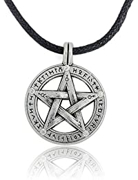 Supernatural Pentacle Pentagram Pendant Men Necklace Witch Protection Star Amulet Necklace Leather Rope Chain