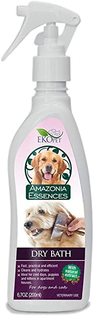 EKOPET Natural Dry Bath Vet and Pet Approved Waterless No Rinse Shampoo for Dogs and Cats - 6.7 Oz
