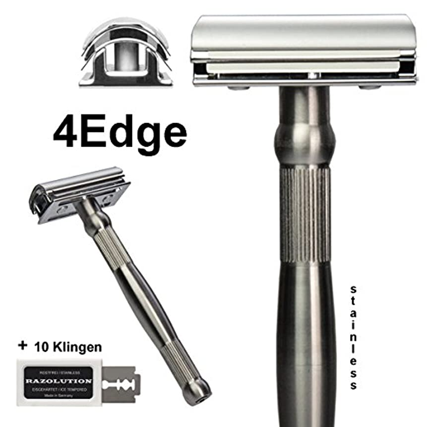 ヘッドレスできた植物学RAZOLUTION 4Edge Safety razor, stainless steel handle
