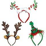 Amscan 楽しいクリスマス&ホリデーパーティーヘッドバンドセット キャンディーケーン ファッションエルフ トナカイの角 面白いコスチュームアクセサリー