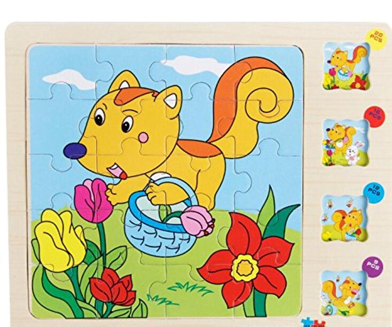 HuaQingPiJu-JP かわいい木の多層パズルアーリーラーニングの数字の形の色の動物のおもちゃ子供のための素晴らしいギフト(リス)