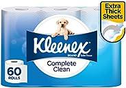 KLEENEX Complete Clean Toilet Paper, 60 Rolls (180 Sheets Per Roll, 15 x 4 Pack, 10cm x 10cm)