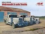ICM 1/35 ドイツ国防軍 3軸トラックセット (Henschel 33D1・Krupp L3H163・LG3000) プラモデル DS3508