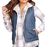 Macondoo Womens Cotton-Padded Winter Fleece Lined Jacket Full-Zip Vest