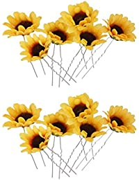 IPOTCH 花のヘアクリップ ひまわり ピン 結婚式 花嫁 髪 飾り イエロー 約12本