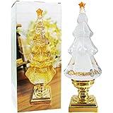 DDXJ LED ライトアップ ミュージカル グリッター クリスマスツリー 高さ14インチ シンギング スノードーム クリスマスツリー型 ペデスタル