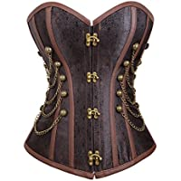 aubluland Women's Gothic Steampunk Corset Retro Overbust Bustiers