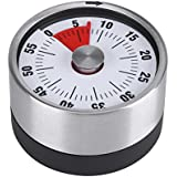 Magnetic Timekeeper Stainless Steel Magnets Mechanical Rotate Timer for Kitchen Office Sport Cooking(Black)