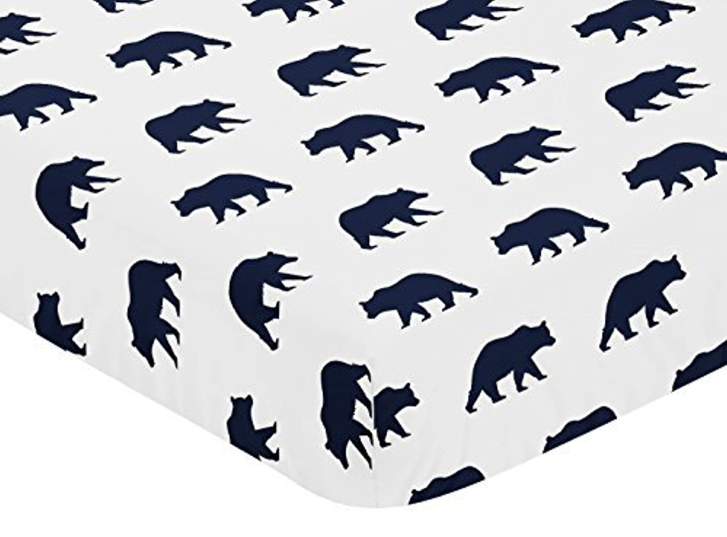Sweet Jojo Designs Navy Blue and White Bear Print Baby or Toddler Fitted Crib Sheet for Big Bear Collection by [並行輸入品]
