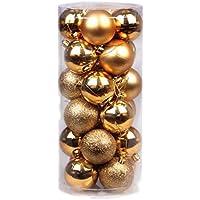 オーナメント ボール デコレーション クリスマス ツリー 飾り パーティー 装飾 24個セット (ゴールド, 8cm)