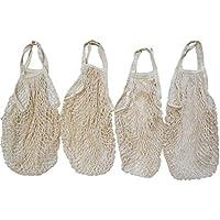 ネットバッグ コットン 綿 メッシュ Sサイズ 吊り下げ 収納袋 買い物エコバッグ 野菜保存 吊るす (アイボリー単色4個セット)