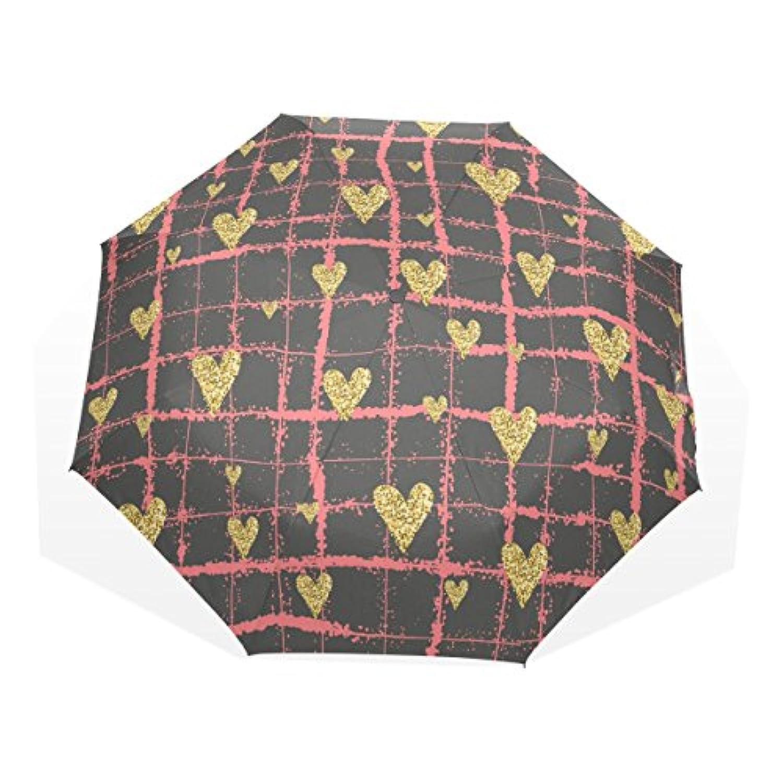 UKIO(ユキオ) 折りたたみ傘 軽量 レディース ハート 晴雨兼用 手動開閉 耐強風 傘 日傘 撥水 収納ケース付