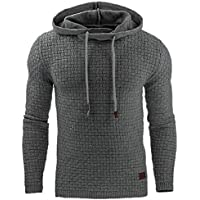 zhaoabao-AU Mens Casual Sport Plain Plus Size Knitted Slim Fit Pullover Hoodie Sweatshirt