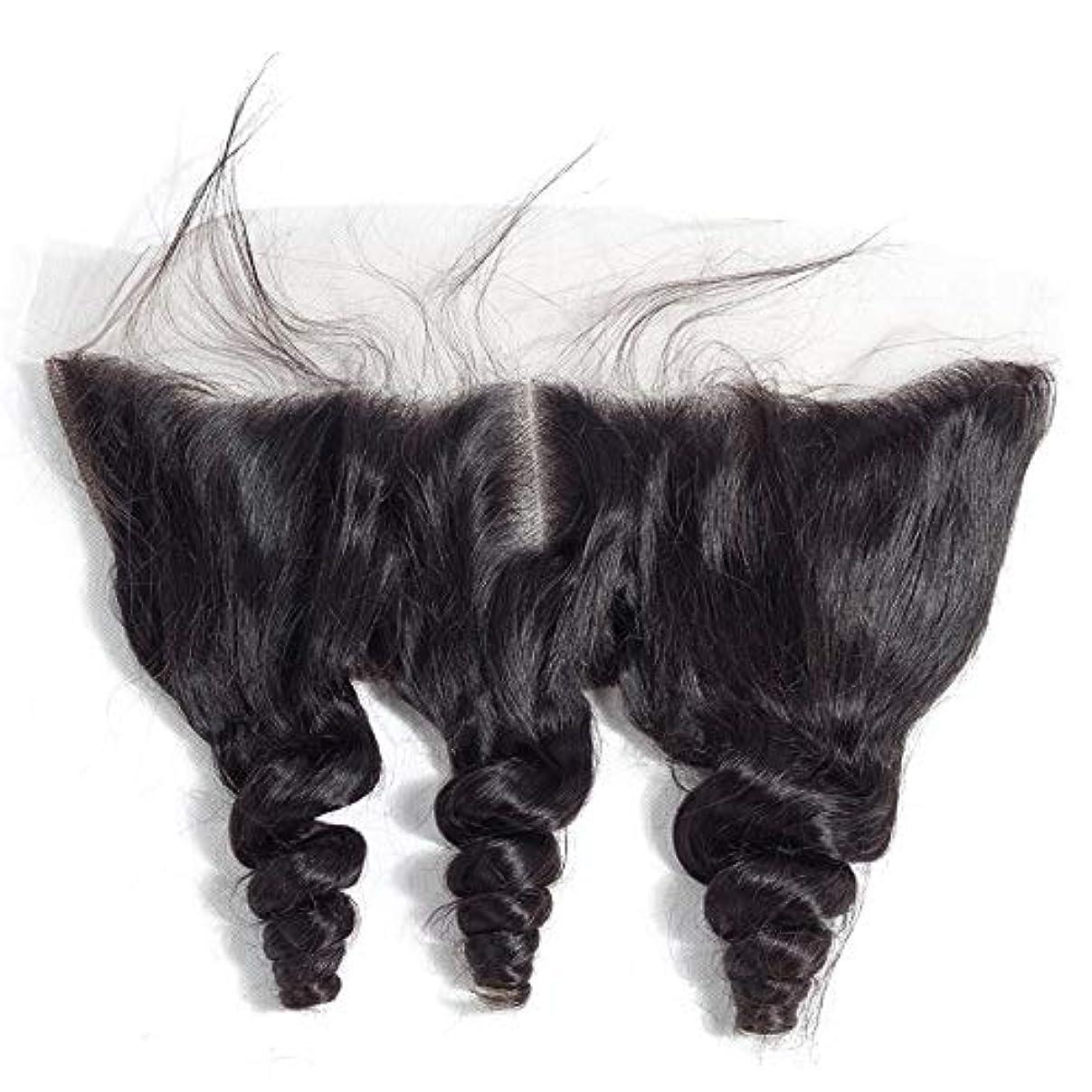 免除死すべきめまいがHOHYLLYA ブラジルルースウェーブヘアー13 * 4レース前頭閉鎖中央部人毛エクステンションファッションかつら (色 : 黒, サイズ : 12 inch)