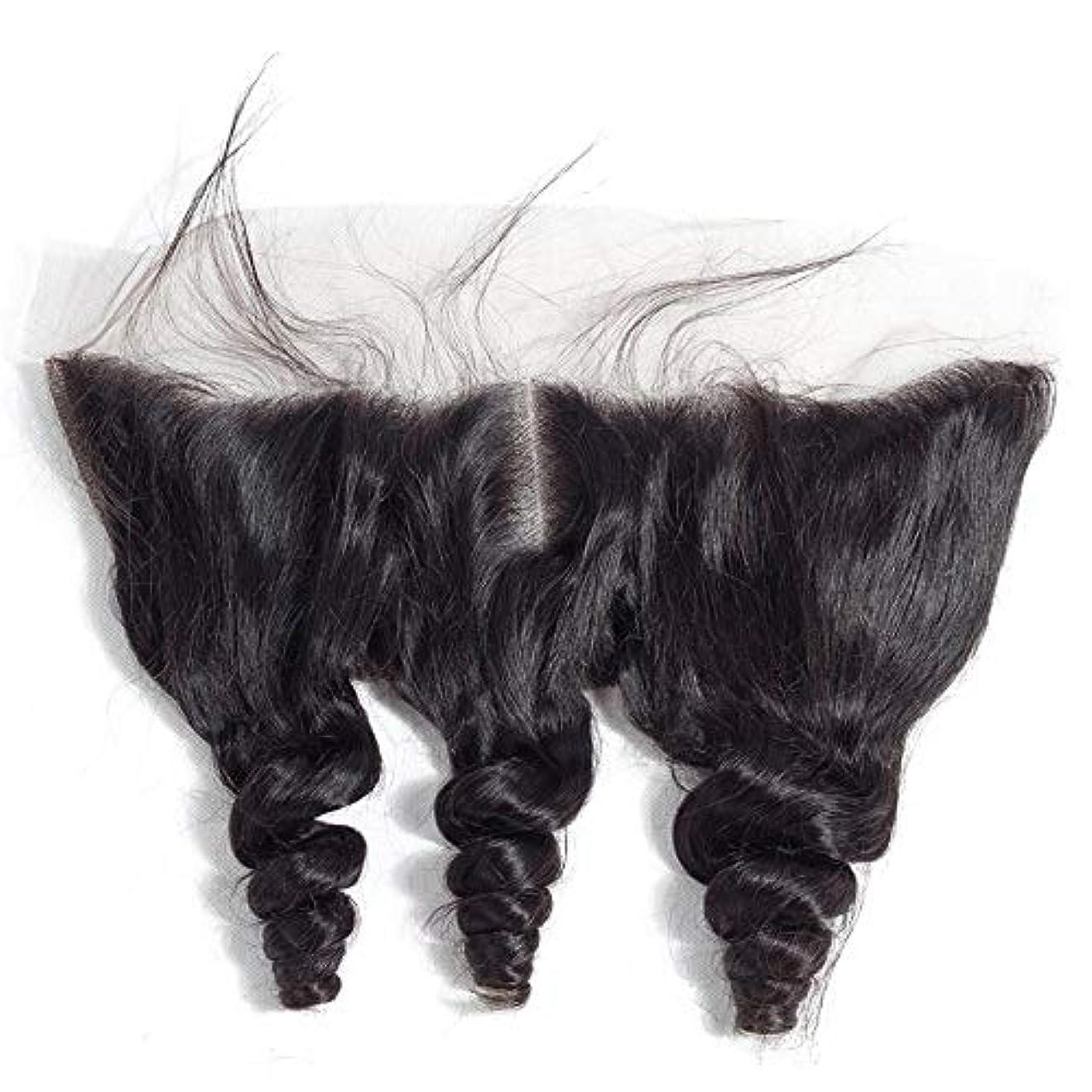 部分スリッパインクHOHYLLYA ブラジルルースウェーブヘアー13 * 4レース前頭閉鎖中央部人毛エクステンションファッションかつら (色 : 黒, サイズ : 12 inch)