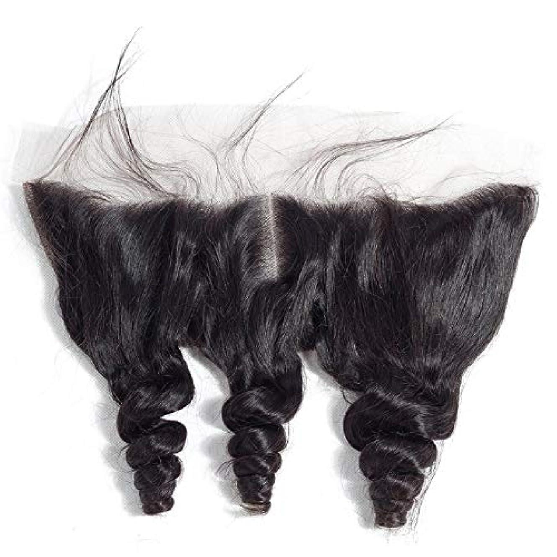 団結する物足りない階段HOHYLLYA ブラジルルースウェーブヘアー13 * 4レース前頭閉鎖中央部人毛エクステンションファッションかつら (色 : 黒, サイズ : 12 inch)