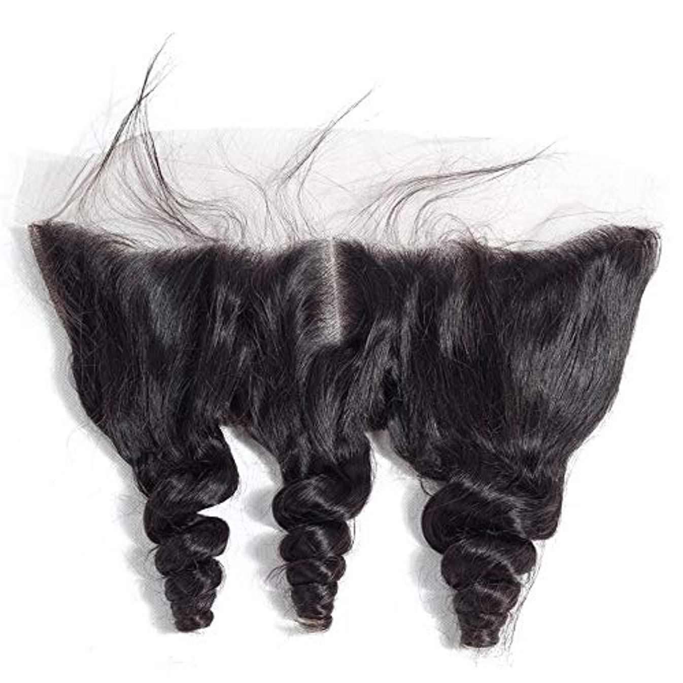 カード二十第三WASAIO ヘアエクステンションクリップ裏地なし髪型ブラジルルーズウェーブ13 * 4レースフロンタル閉鎖横隔膜パート人間 (色 : 黒, サイズ : 8 inch)