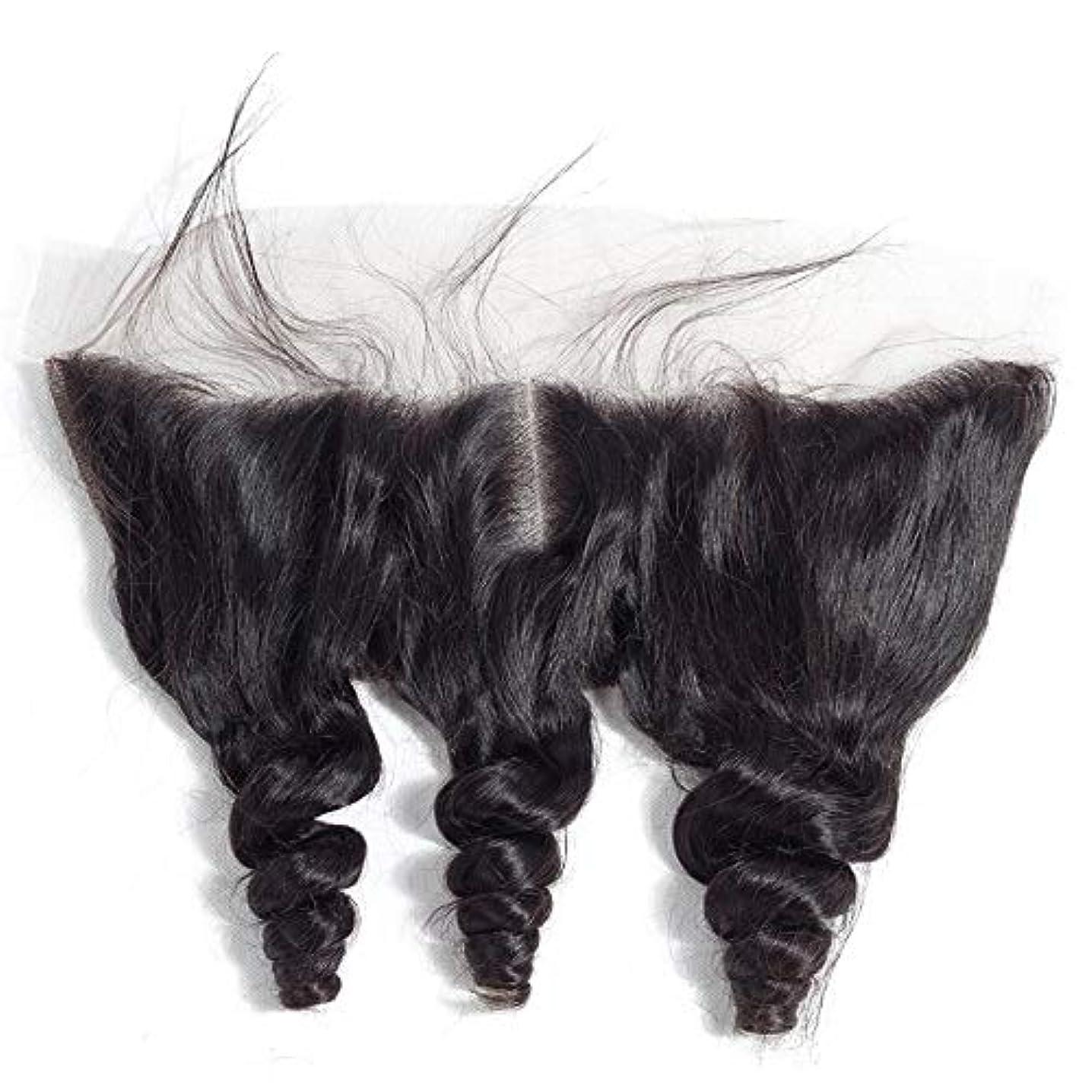 どんよりした極小過去WASAIO ヘアエクステンションクリップ裏地なし髪型ブラジルルーズウェーブ13 * 4レースフロンタル閉鎖横隔膜パート人間 (色 : 黒, サイズ : 8 inch)
