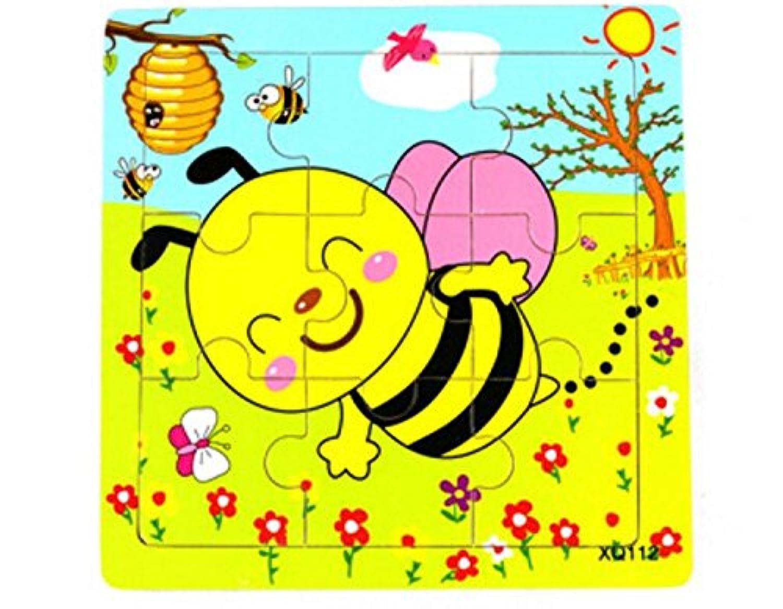 HuaQingPiJu-JP かわいい木製の教育的なパズルアーリーラーニング番号の形の色の動物のおもちゃキッズ(蜂)のための素晴らしいギフト