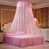 Mosquito Net Dome, Petforu Princess Bed Canopies Netting Elegant Lace with 2 Butterflies for decor (Pink)