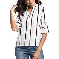 Women Shirt, SMTSMT Womens Fashion Stripe Half Sleeve V-neck Blouse Casual Tops