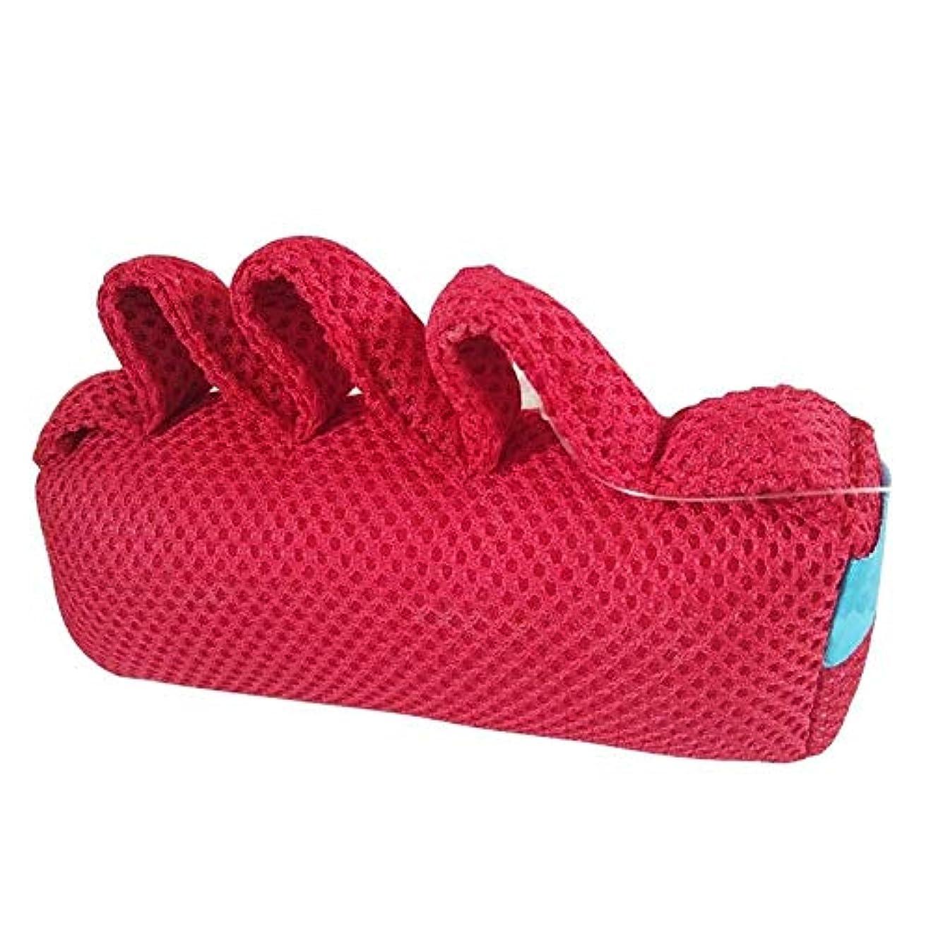 器具申し立てレッドデート指の拘縮クッション、指セパレータパームプロテクターリハビリテーション脳卒中片麻痺患者のハンドケア製品(左利きと右利き) (色 : Red)