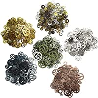 SUPVOX 100Pcs Antique Steampunk Gears Metal Steampunk Jewelry Making Charms Pendant Cog Watch Wheel for Jewelry Making Crafting (Mixed Color)