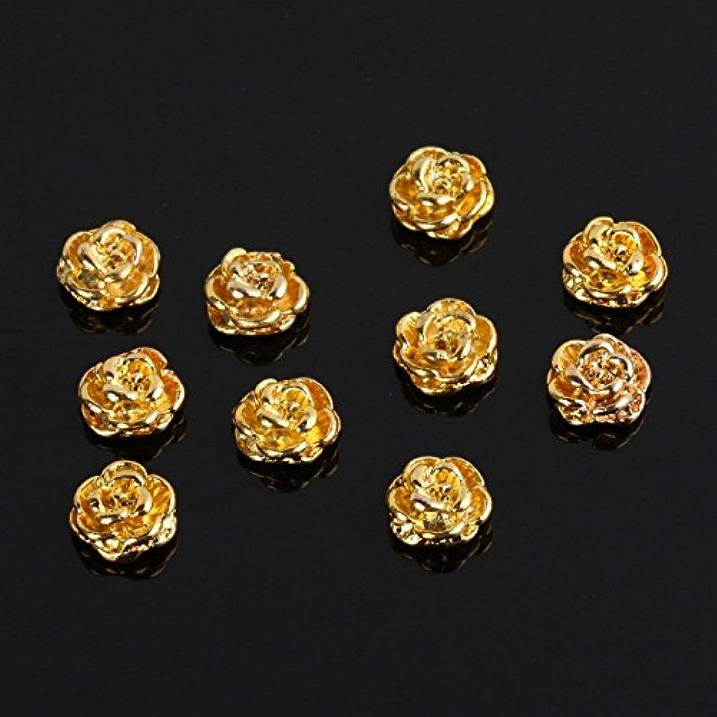 に対応するテナント鍔SODIAL(R) ゴールデンローズシェイプ  10枚  シルバー3D合金ネイルアートスライス  キラキラDIYデコレーション