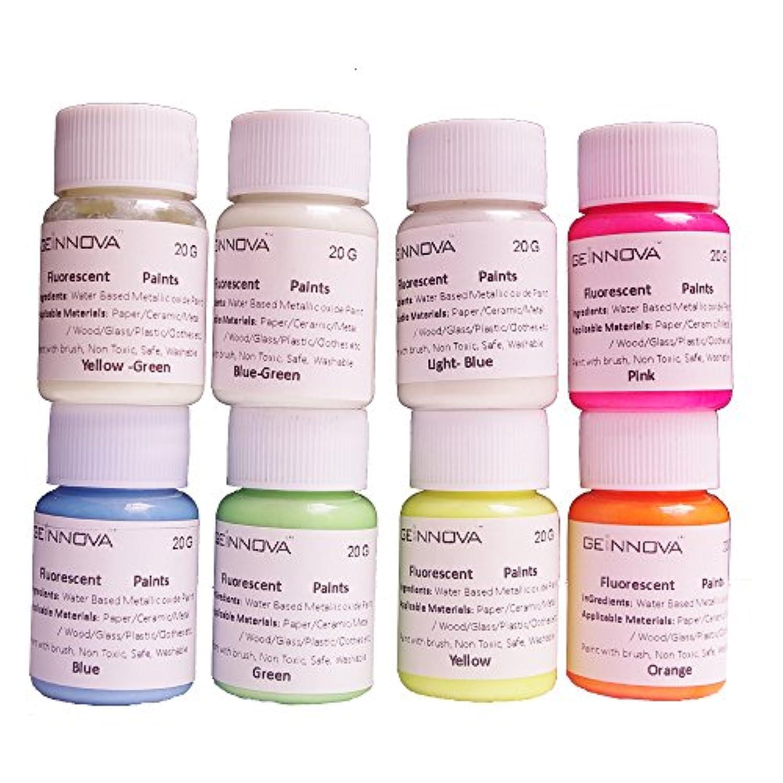 8本のボトル/セット、色8種類の蛍光塗料 長持ちの夜光ペイント パーティ-装飾用顔料、壁、ガラス、装飾品発光剤、暗くなると自動発光する