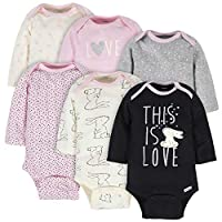 GERBER Baby Girls' 6-Pack Long-Sleeve Onesies Bodysuit