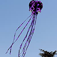 Suayan Kite Frameless ParafoilソフトPiebald Octopus Kite Flying in the Sky大人と子供Largeカイト5.5 M (パープル)