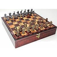 Dragon Fantasy Pewter Metal Chess Set W/ 17