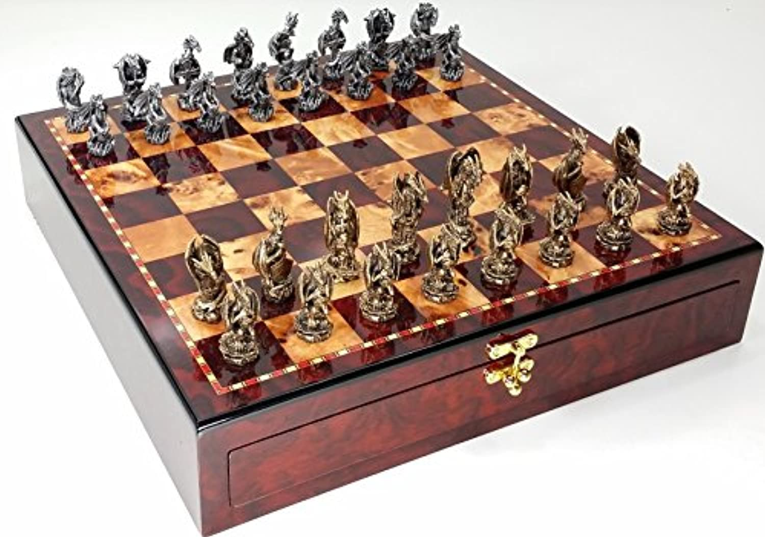 Dragon Fantasy Pewter Metal Chess Set W/ 17