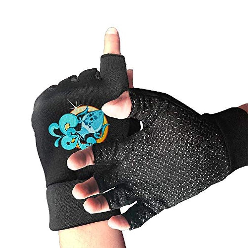 サイレント喜劇振幅サイクリンググローブBlue Aquariusメンズ/レディースマウンテンバイク用グローブハーフフィンガースリップ防止オートバイ用グローブ