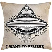 Outer Space Decor Throw Pillow Cushion Cover, Alien Roller Flight with Believe Quote Print Retro Mystery Fantasy Symbol, Decorative Square Accent Pillow Case, 18X18 Inches, Black Tan