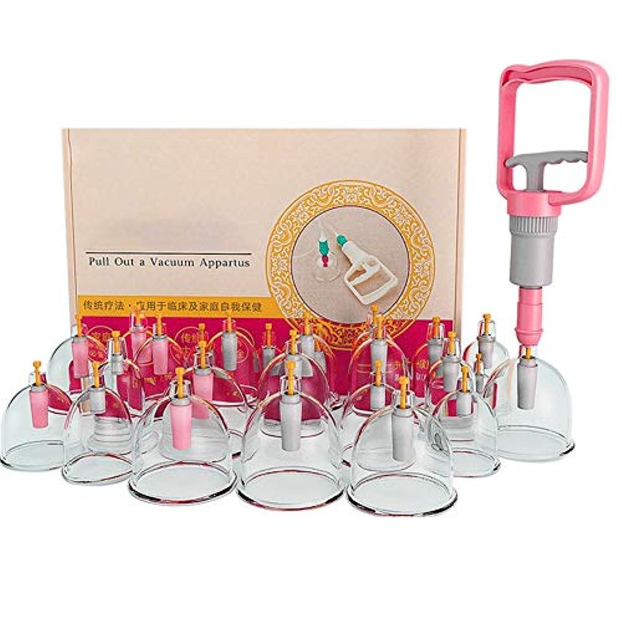 笑いリスクお金24カップカッピング療法セット、真空吸引生体磁気磁気ポンプ、在宅医療、真空磁気ポンプ付き、ボディマッサージの痛みを緩和する理学療法