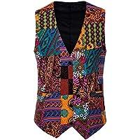 MogogNMen Folk Style Irregular Hem Printing Colorful Personalized Business Vests