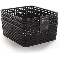 Bino Wovenプラスチックストレージバスケット M ブラック 11038-BLK