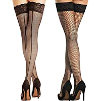 Charmrosy Sexy Fishnet Thigh High Stockings with Lace Top Silicone Stay UP for Women